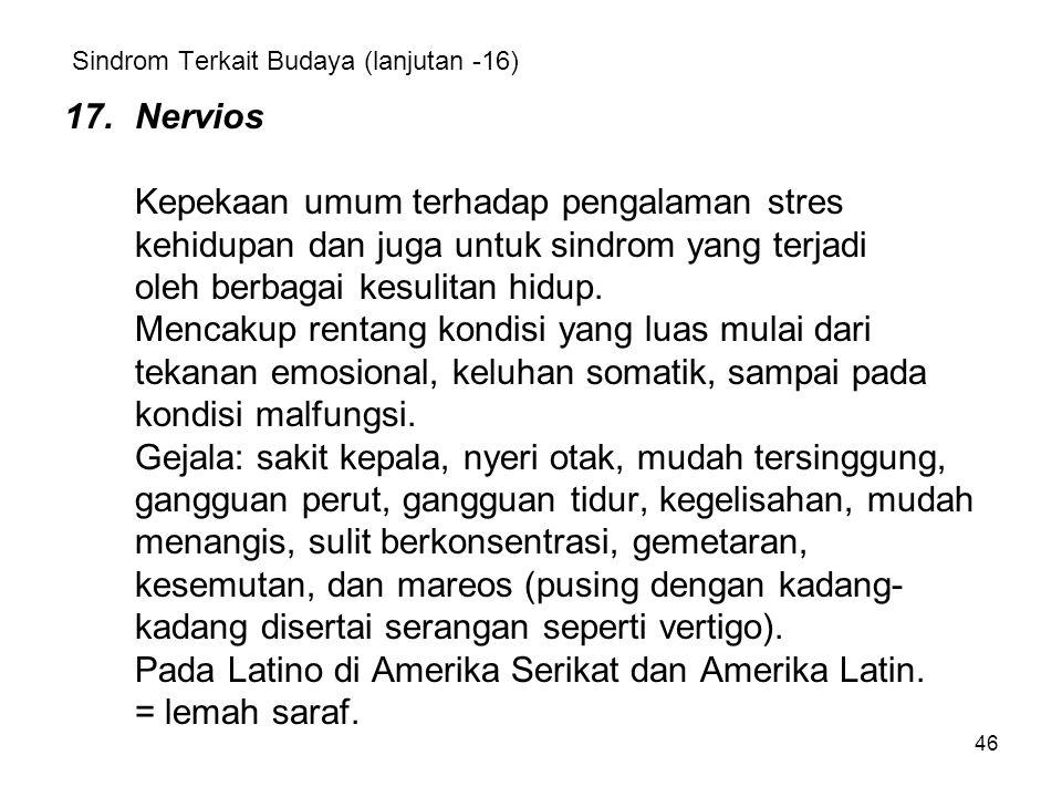 Sindrom Terkait Budaya (lanjutan -16)