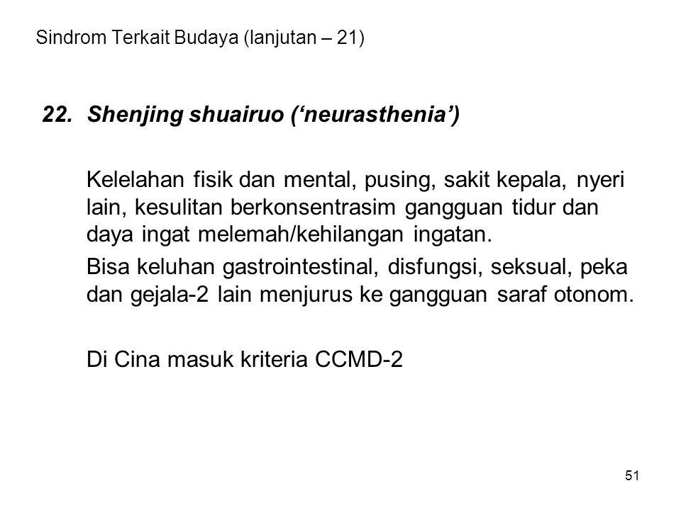 Sindrom Terkait Budaya (lanjutan – 21)