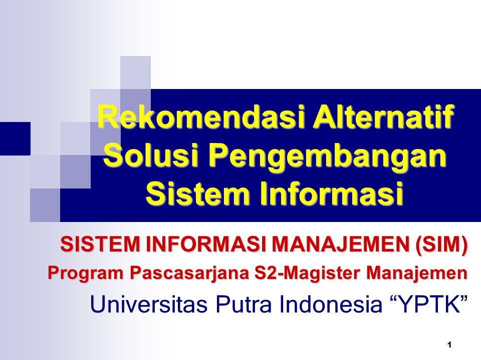 Rekomendasi Alternatif Solusi Pengembangan Sistem Informasi