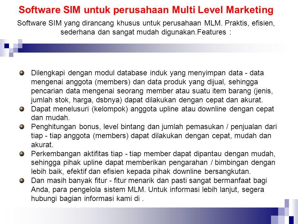 Software SIM untuk perusahaan Multi Level Marketing