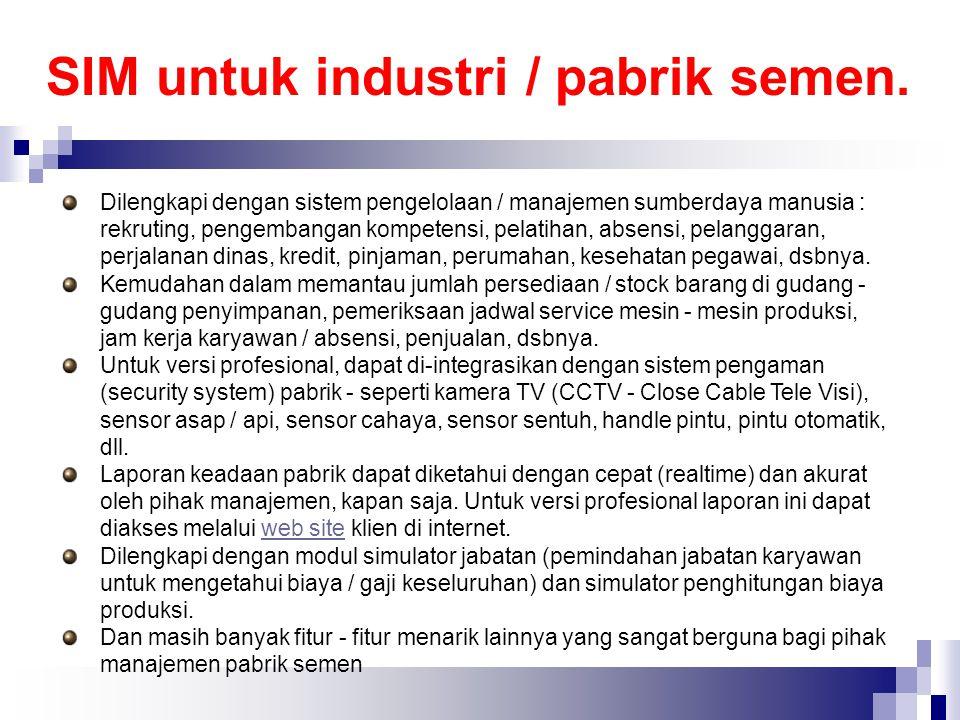 SIM untuk industri / pabrik semen.