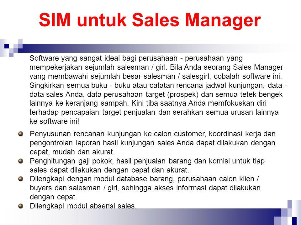 SIM untuk Sales Manager