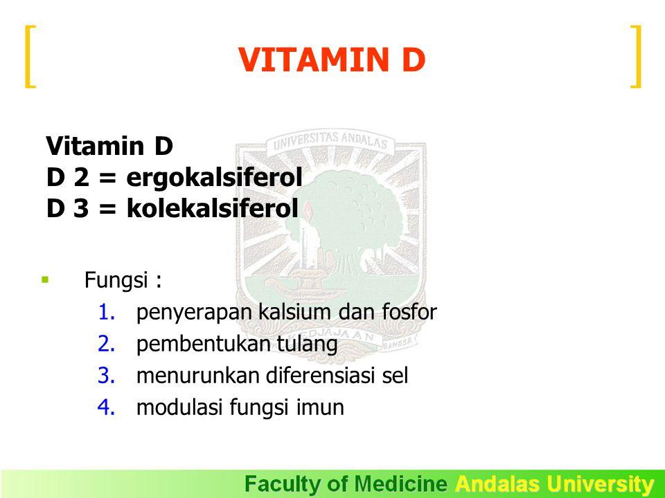 Vitamin D D 2 = ergokalsiferol D 3 = kolekalsiferol