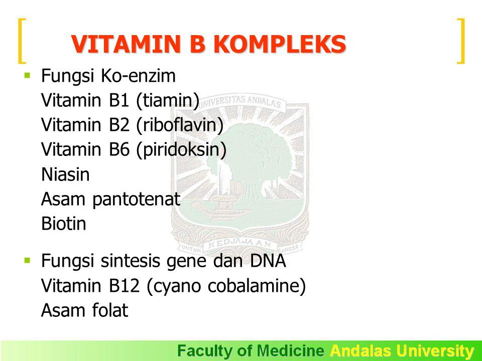 VITAMIN B KOMPLEKS Fungsi Ko-enzim Vitamin B1 (tiamin)