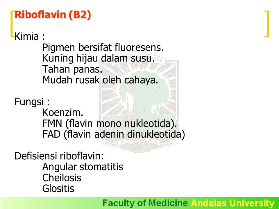 Riboflavin (B2) Kimia : Pigmen bersifat fluoresens. Kuning hijau dalam susu. Tahan panas. Mudah rusak oleh cahaya.