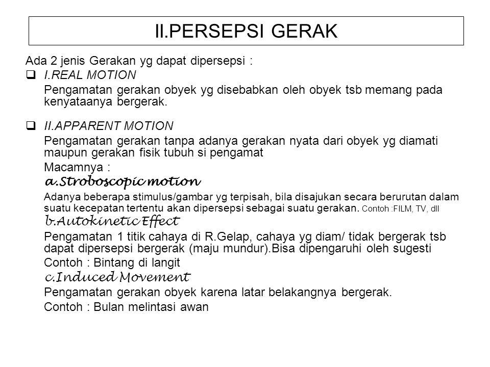 II.PERSEPSI GERAK Ada 2 jenis Gerakan yg dapat dipersepsi :
