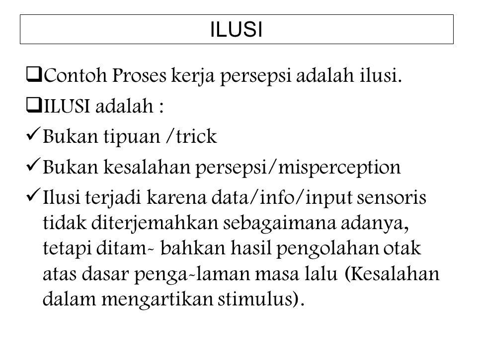 ILUSI Contoh Proses kerja persepsi adalah ilusi. ILUSI adalah : Bukan tipuan /trick. Bukan kesalahan persepsi/misperception.