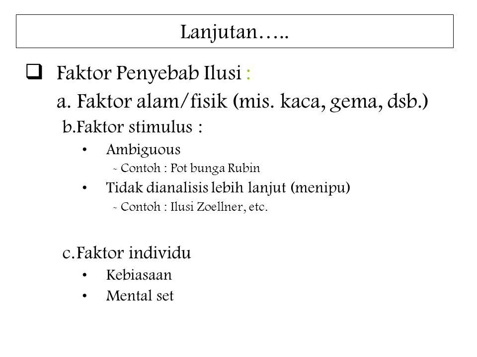 Faktor Penyebab Ilusi : a. Faktor alam/fisik (mis. kaca, gema, dsb.)