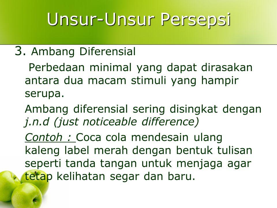 Unsur-Unsur Persepsi 3. Ambang Diferensial