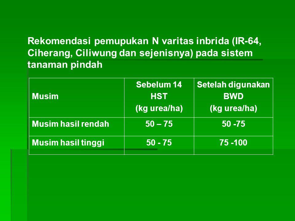 Rekomendasi pemupukan N varitas inbrida (IR-64, Ciherang, Ciliwung dan sejenisnya) pada sistem tanaman pindah