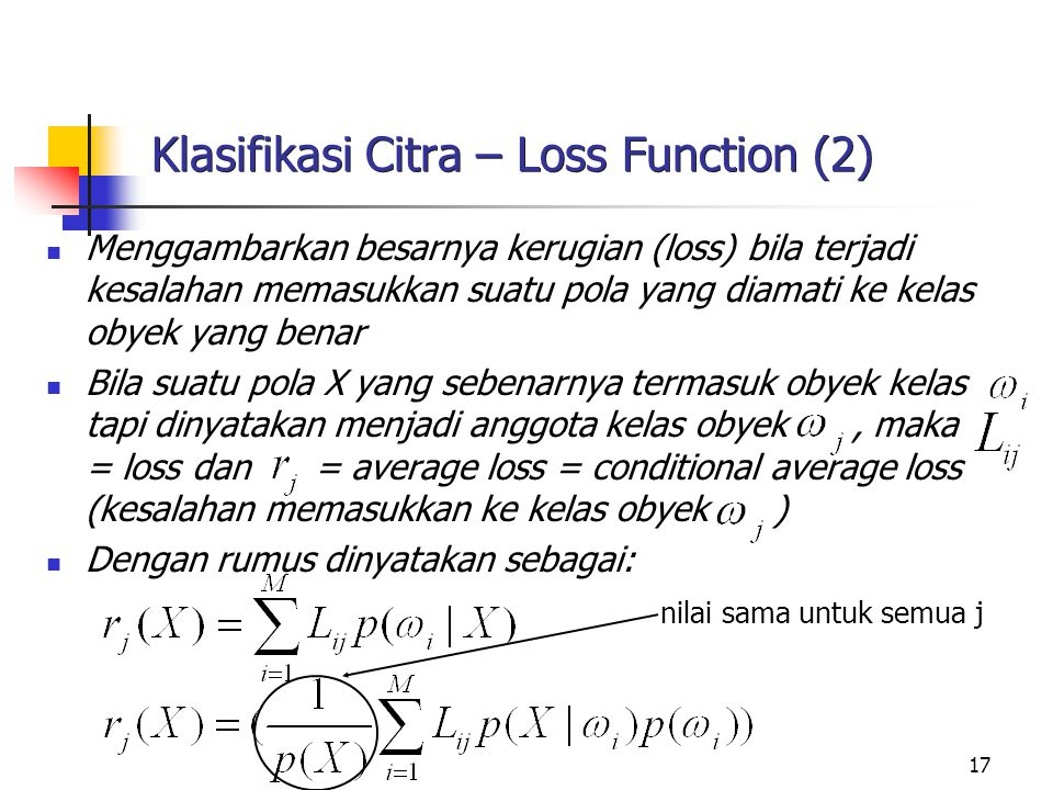 Klasifikasi Citra – Loss Function (2)