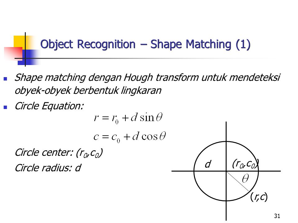 Object Recognition – Shape Matching (1)