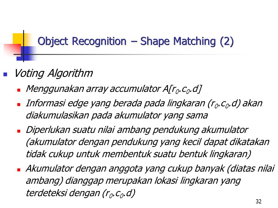 Object Recognition – Shape Matching (2)