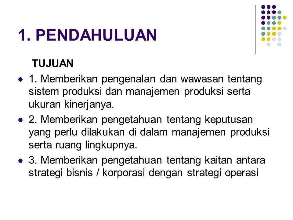1. PENDAHULUAN TUJUAN. 1. Memberikan pengenalan dan wawasan tentang sistem produksi dan manajemen produksi serta ukuran kinerjanya.