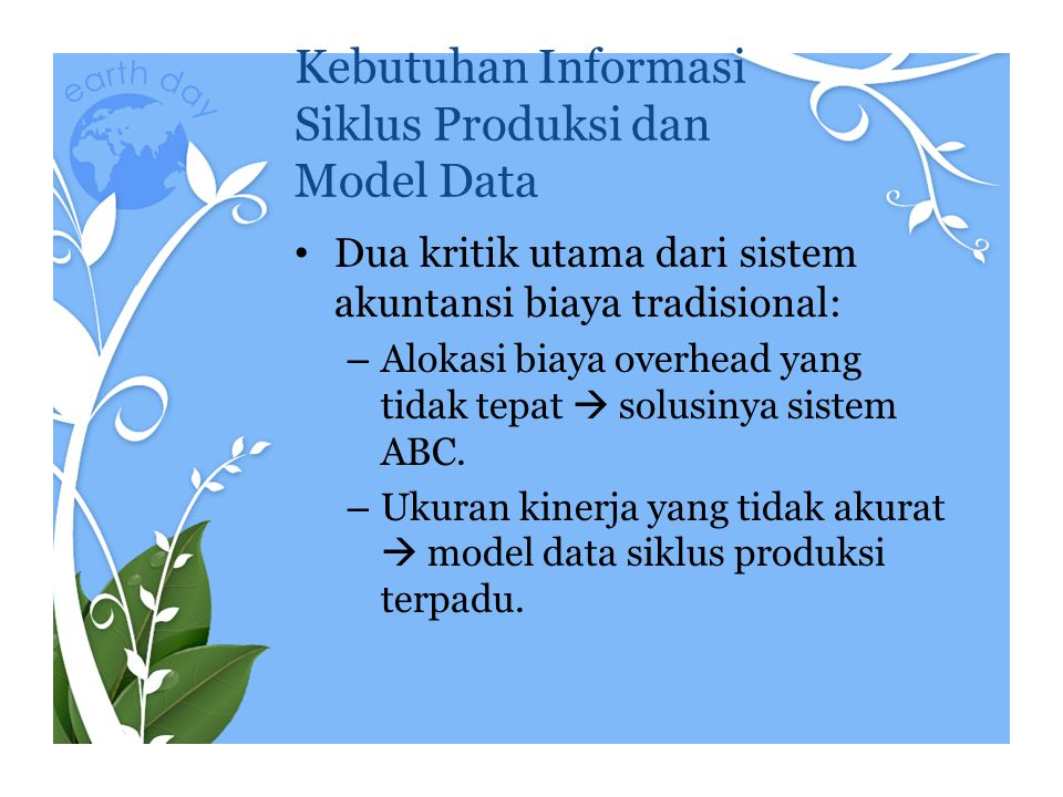 Kebutuhan Informasi Siklus Produksi dan Model Data