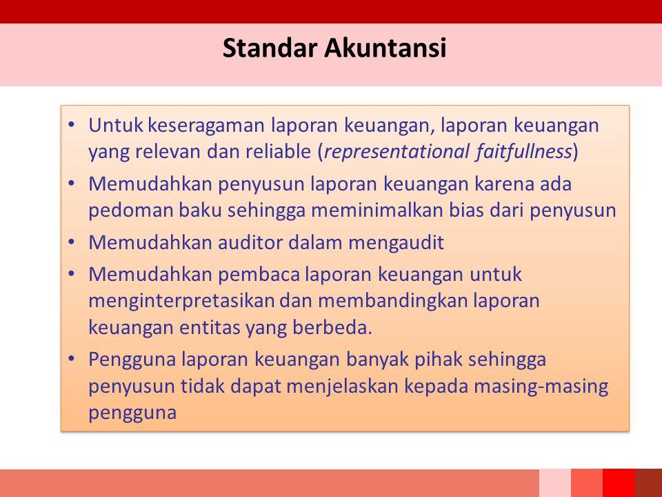 Standar Akuntansi Untuk keseragaman laporan keuangan, laporan keuangan yang relevan dan reliable (representational faitfullness)