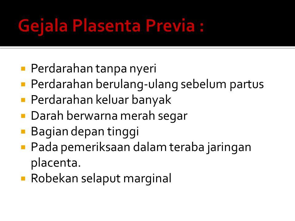 Gejala Plasenta Previa :