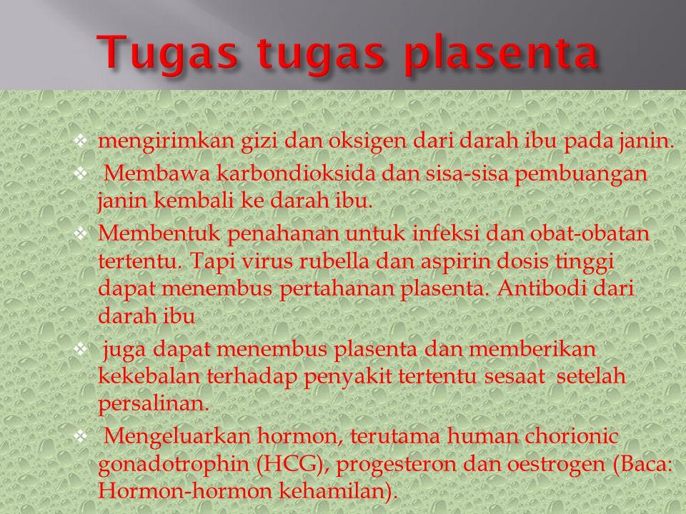 Tugas tugas plasenta mengirimkan gizi dan oksigen dari darah ibu pada janin.