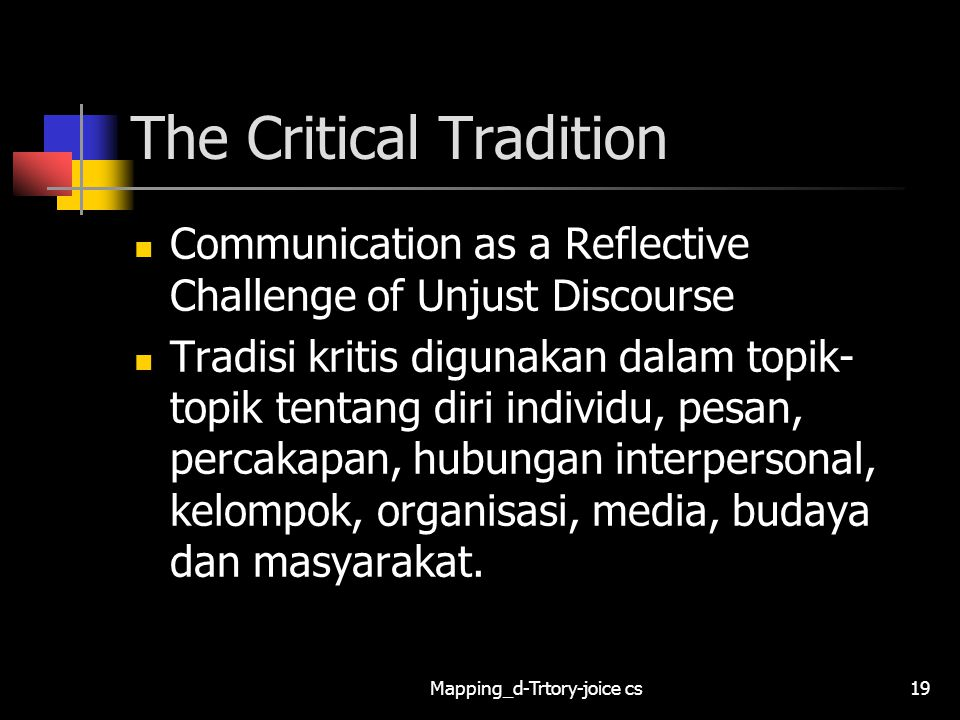 The Critical Tradition