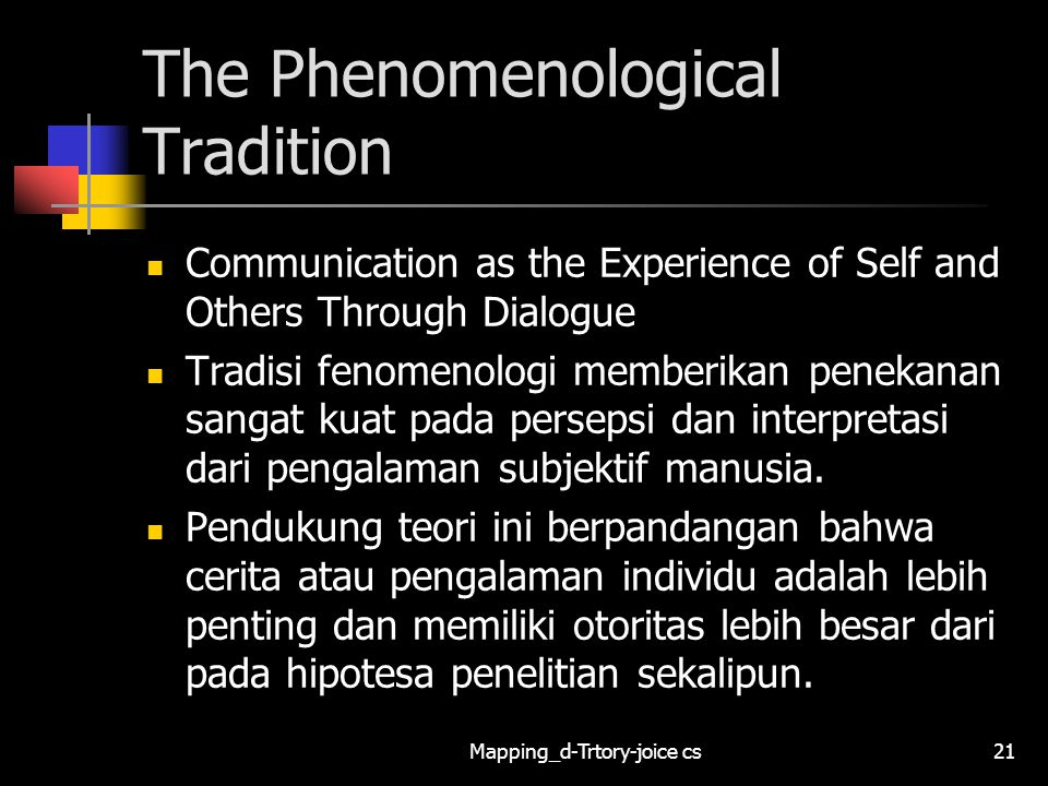 The Phenomenological Tradition
