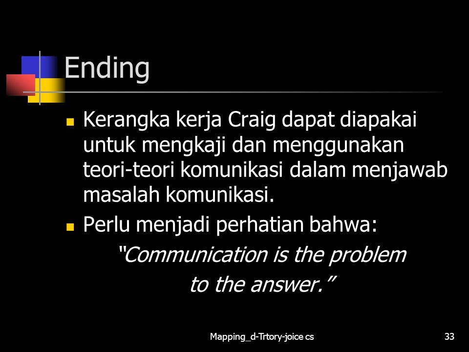 Ending Kerangka kerja Craig dapat diapakai untuk mengkaji dan menggunakan teori-teori komunikasi dalam menjawab masalah komunikasi.