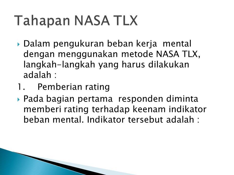 Tahapan NASA TLX Dalam pengukuran beban kerja mental dengan menggunakan metode NASA TLX, langkah-langkah yang harus dilakukan adalah :