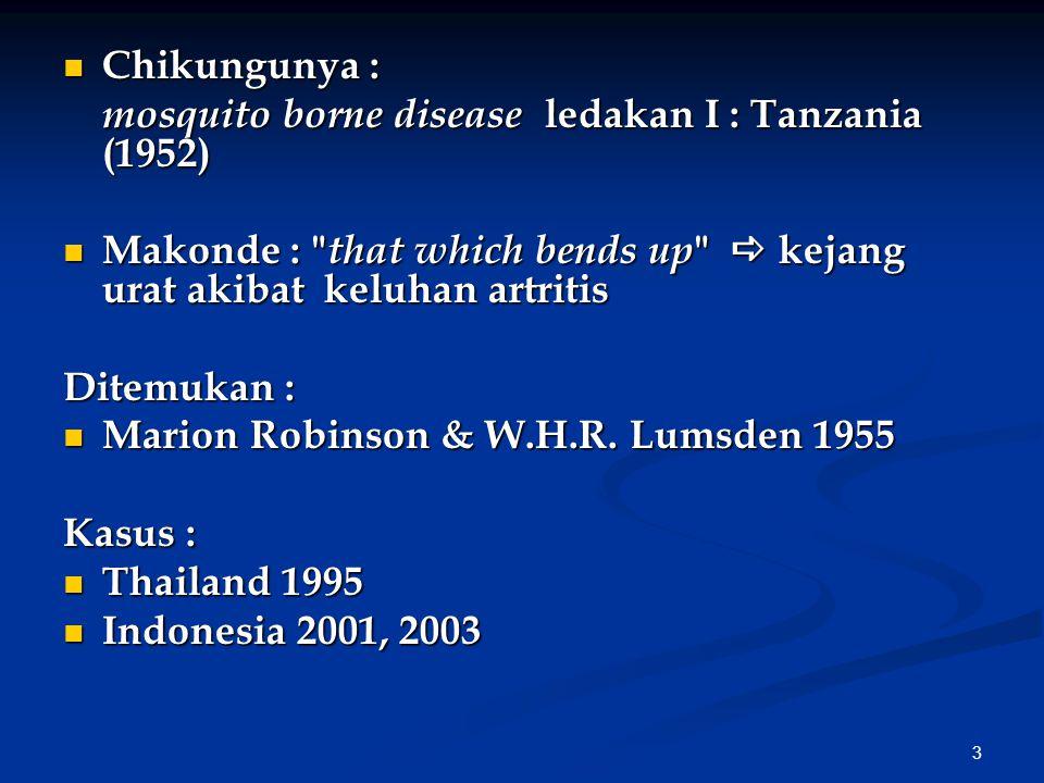Chikungunya : mosquito borne disease ledakan I : Tanzania (1952) Makonde : that which bends up  kejang urat akibat keluhan artritis.