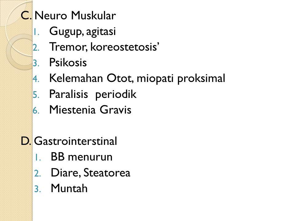 C. Neuro Muskular Gugup, agitasi. Tremor, koreostetosis' Psikosis. Kelemahan Otot, miopati proksimal.