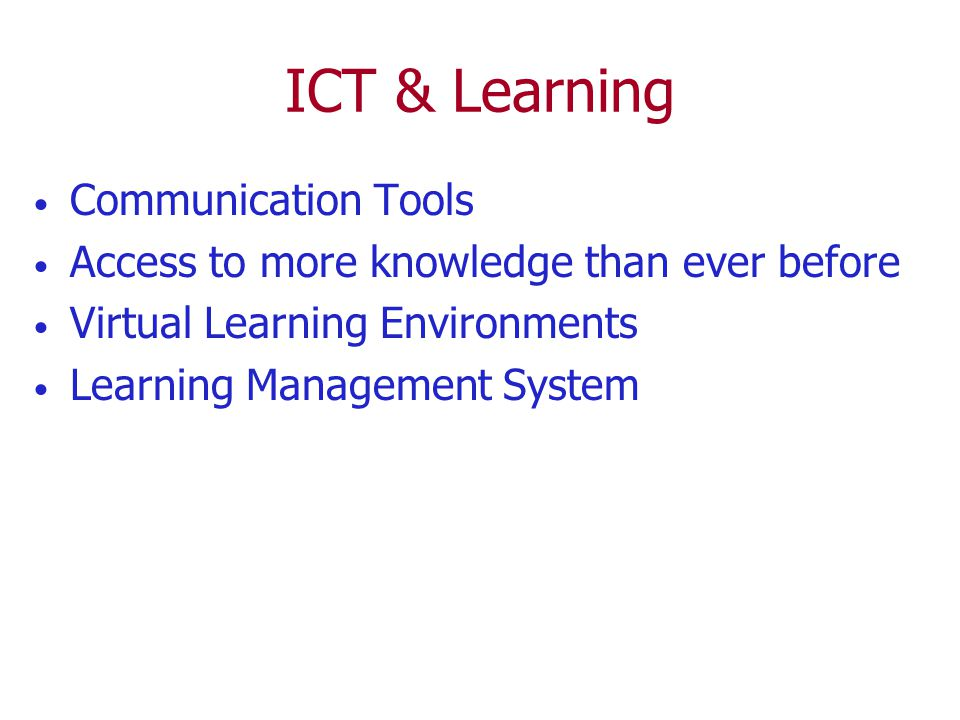 ICT & Learning Communication Tools