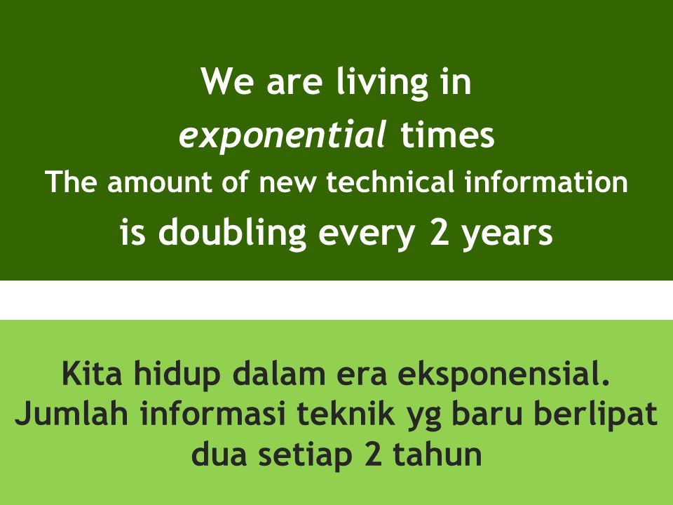We are living in exponential times is doubling every 2 years