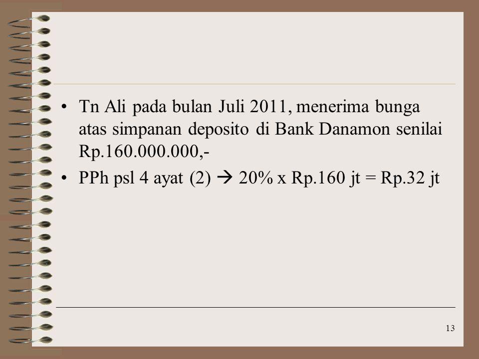 Tn Ali pada bulan Juli 2011, menerima bunga atas simpanan deposito di Bank Danamon senilai Rp.160.000.000,-