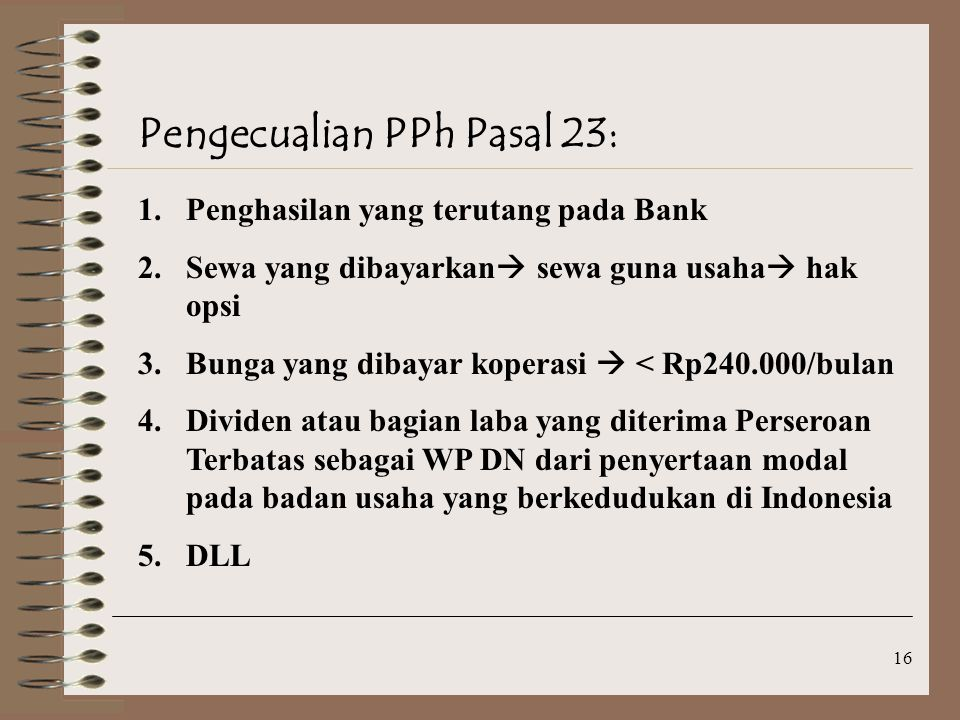 Pengecualian PPh Pasal 23: