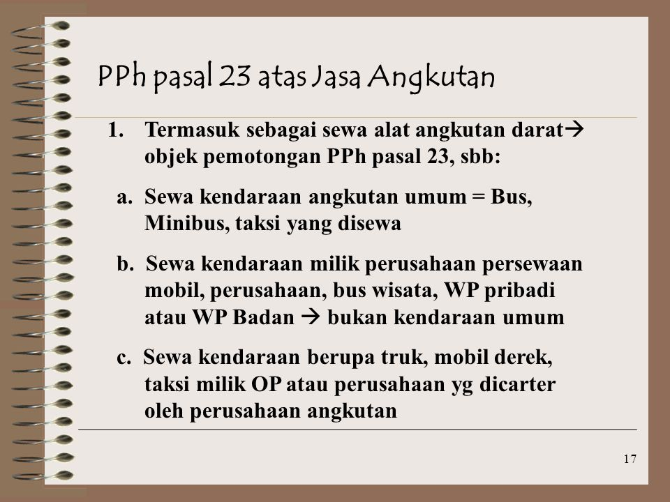 PPh pasal 23 atas Jasa Angkutan
