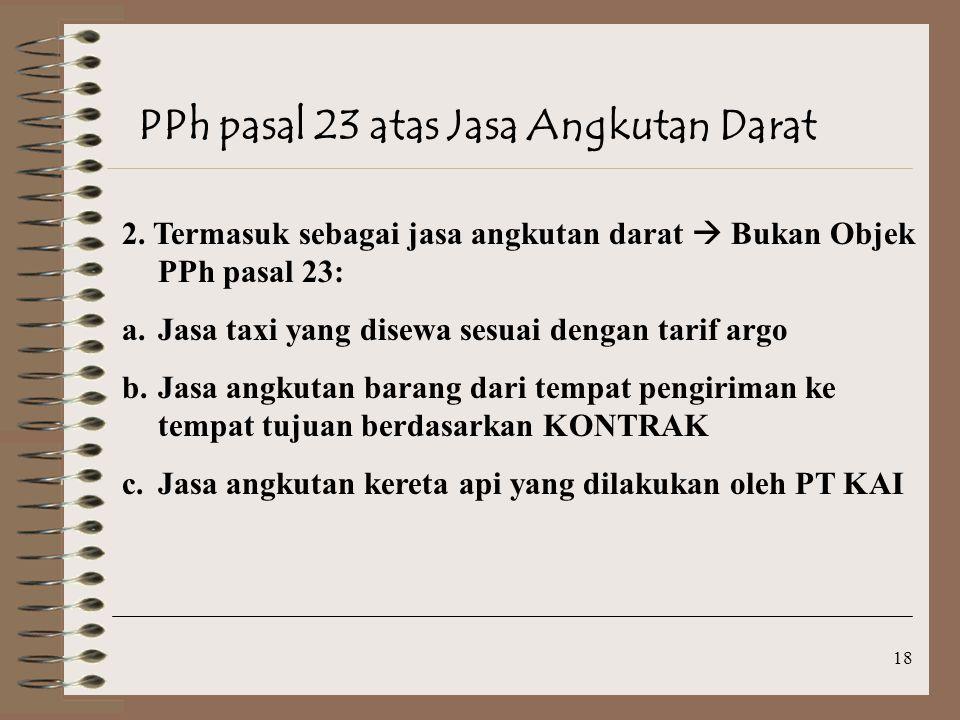 PPh pasal 23 atas Jasa Angkutan Darat