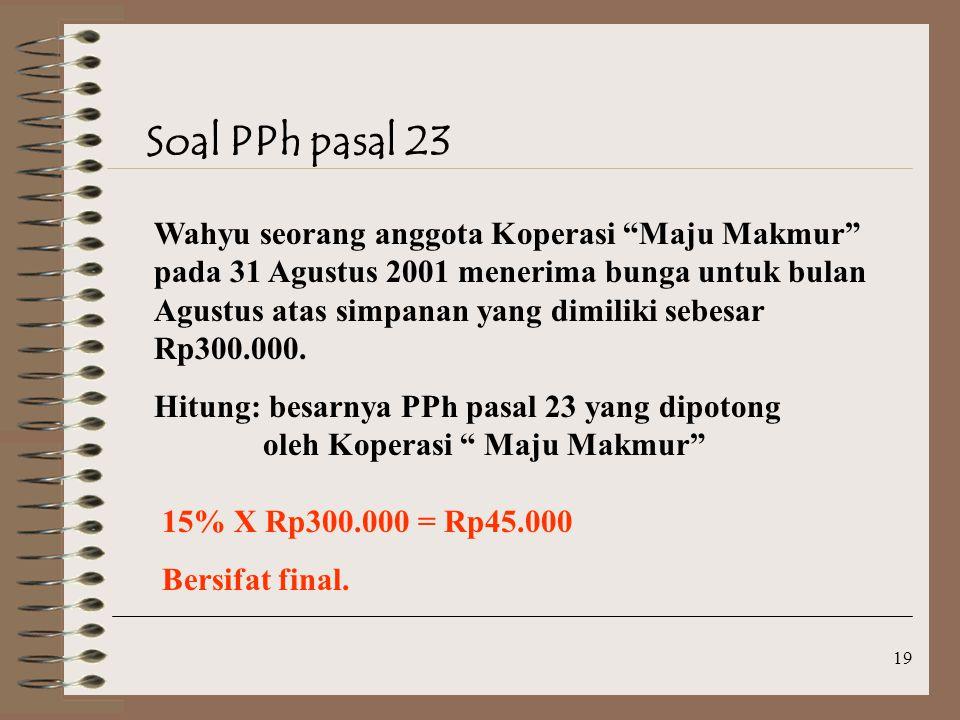 Soal PPh pasal 23