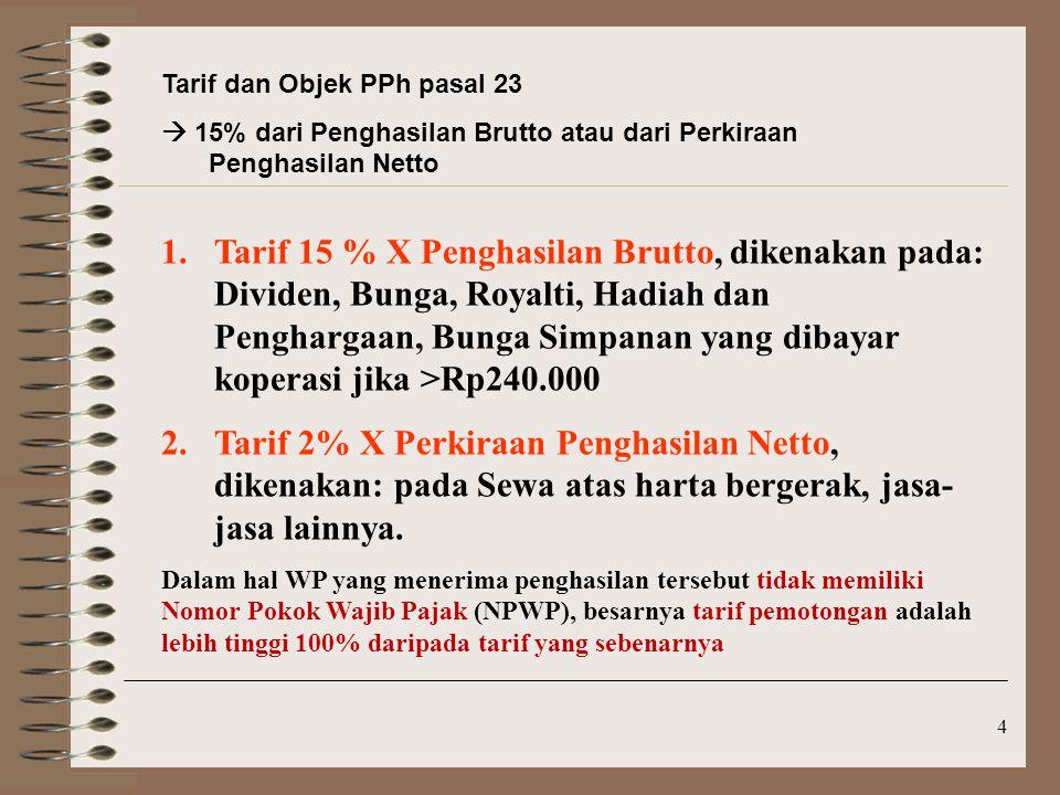 Tarif dan Objek PPh pasal 23