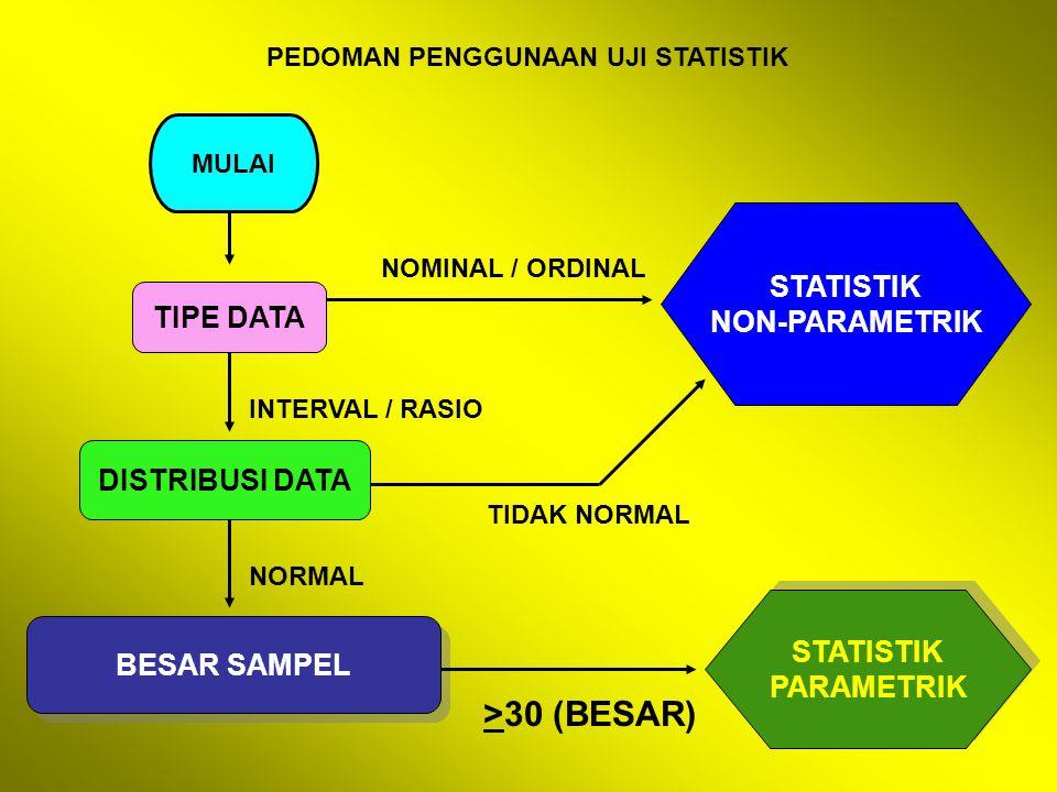 >30 (BESAR) STATISTIK NON-PARAMETRIK TIPE DATA DISTRIBUSI DATA
