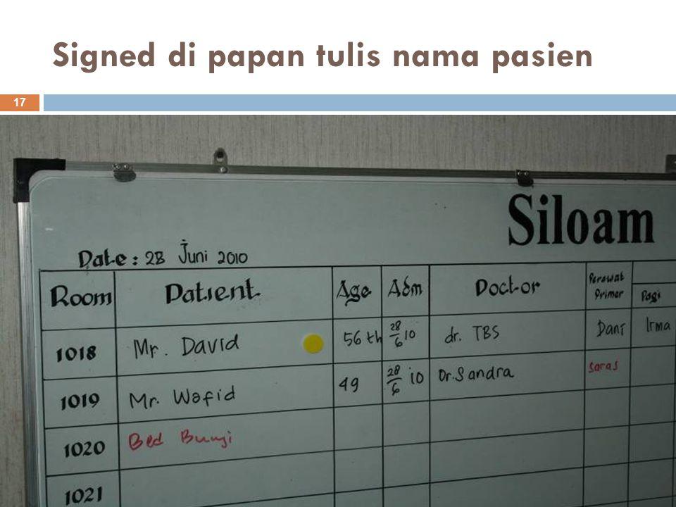Signed di papan tulis nama pasien