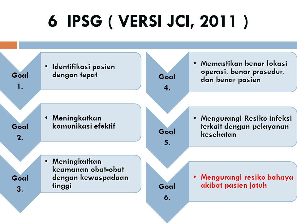 6 IPSG ( VERSI JCI, 2011 ) Goal. 1. Identifikasi pasien dengan tepat. 2. Meningkatkan komunikasi efektif.