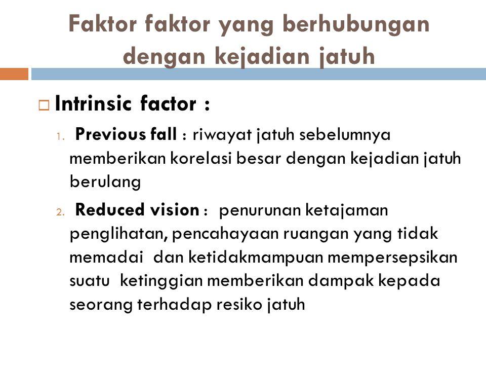 Faktor faktor yang berhubungan dengan kejadian jatuh