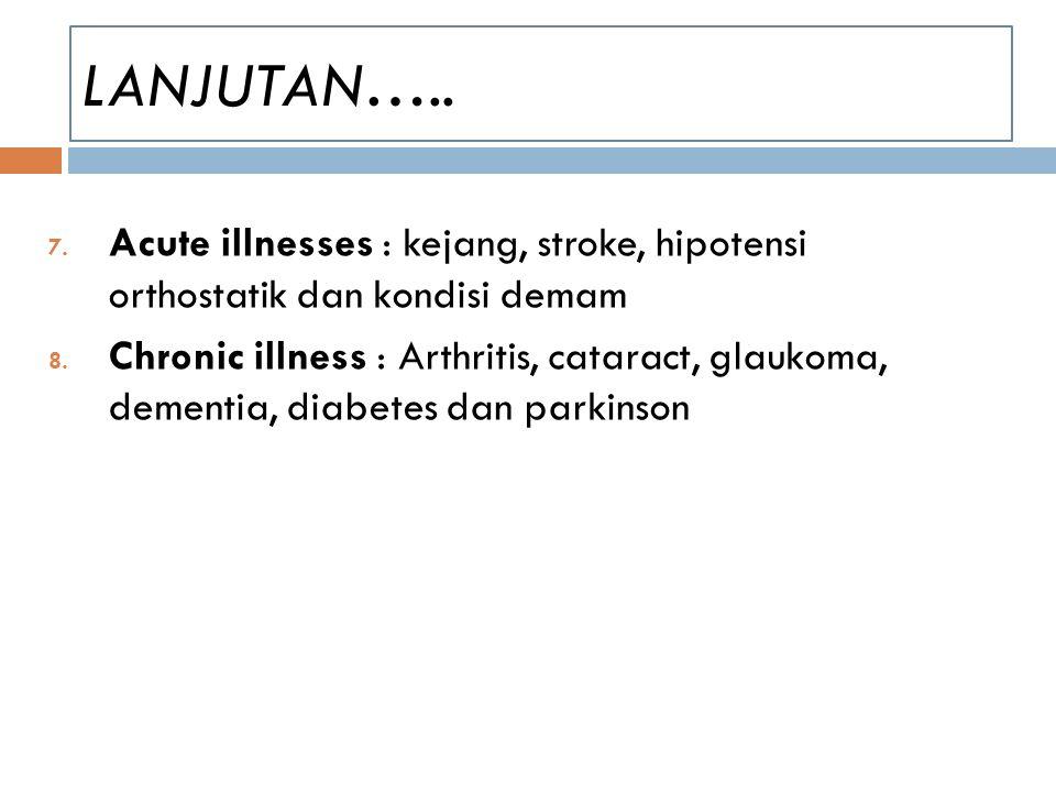 LANJUTAN….. Acute illnesses : kejang, stroke, hipotensi orthostatik dan kondisi demam.