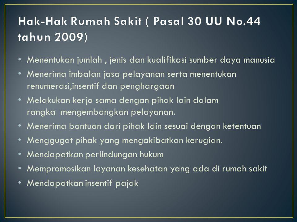 Hak-Hak Rumah Sakit ( Pasal 30 UU No.44 tahun 2009)
