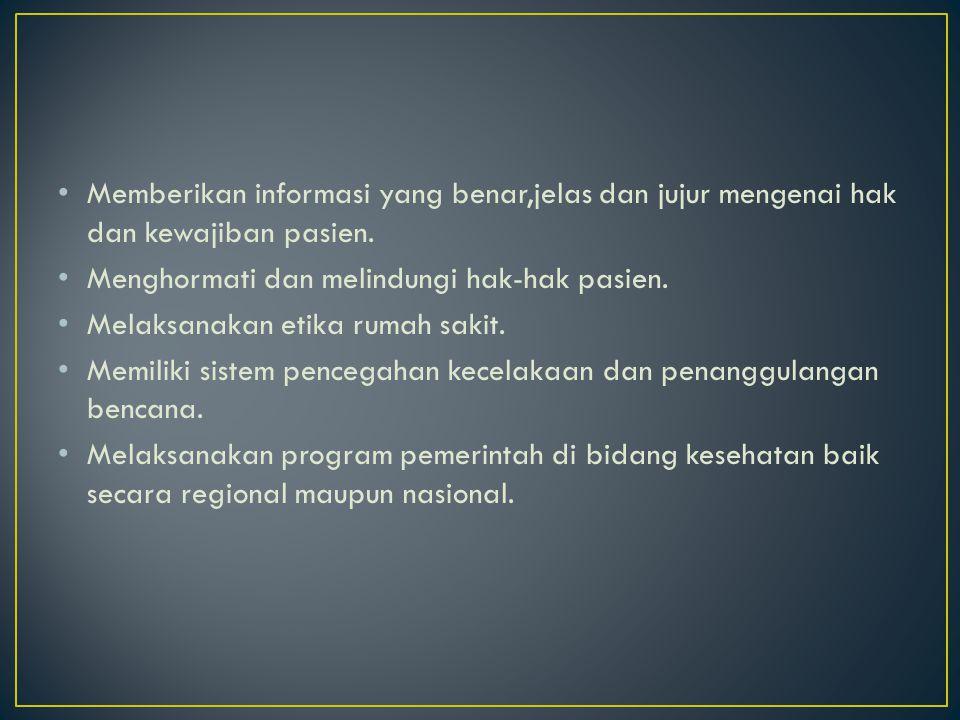 Memberikan informasi yang benar,jelas dan jujur mengenai hak dan kewajiban pasien.