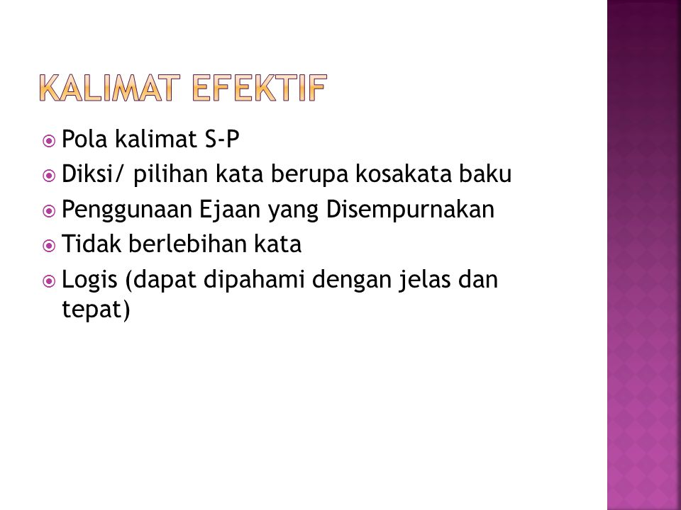 Kalimat Efektif Pola kalimat S-P