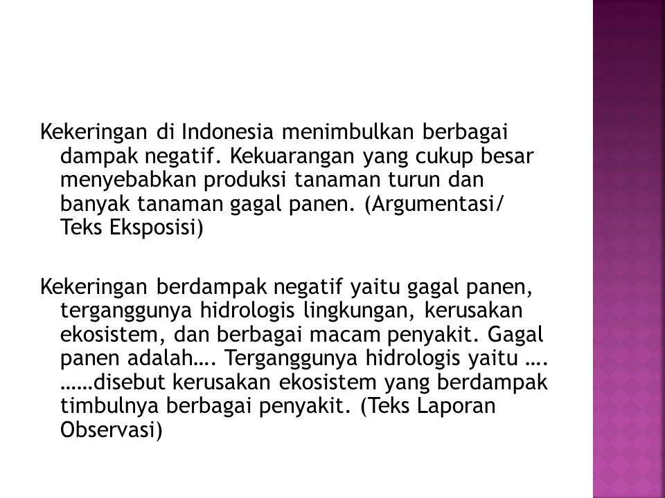 Kekeringan di Indonesia menimbulkan berbagai dampak negatif