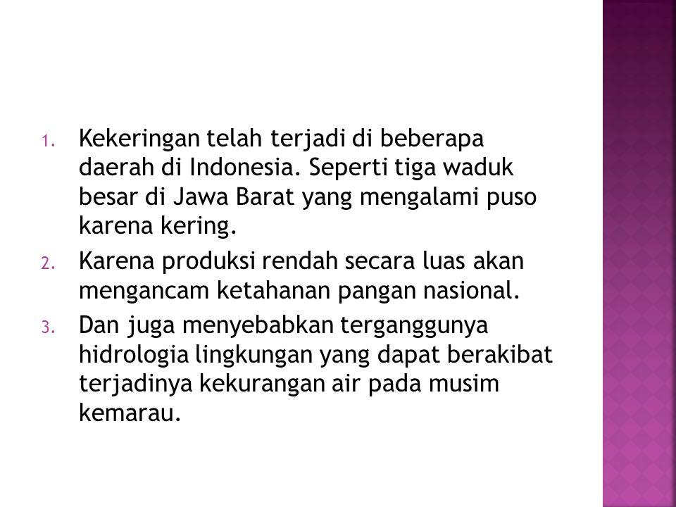 Kekeringan telah terjadi di beberapa daerah di Indonesia
