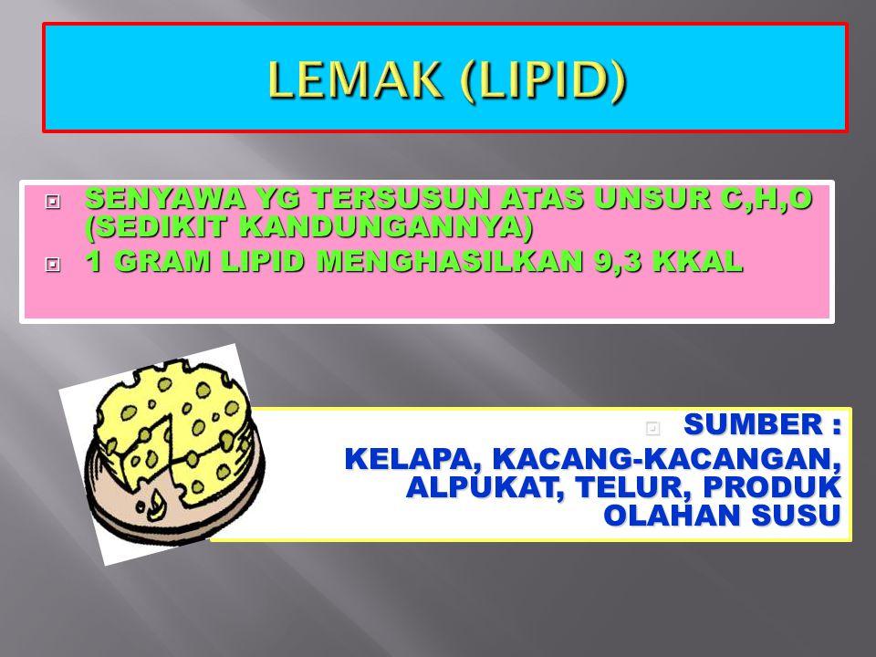 LEMAK (LIPID) SENYAWA YG TERSUSUN ATAS UNSUR C,H,O (SEDIKIT KANDUNGANNYA) 1 GRAM LIPID MENGHASILKAN 9,3 KKAL.