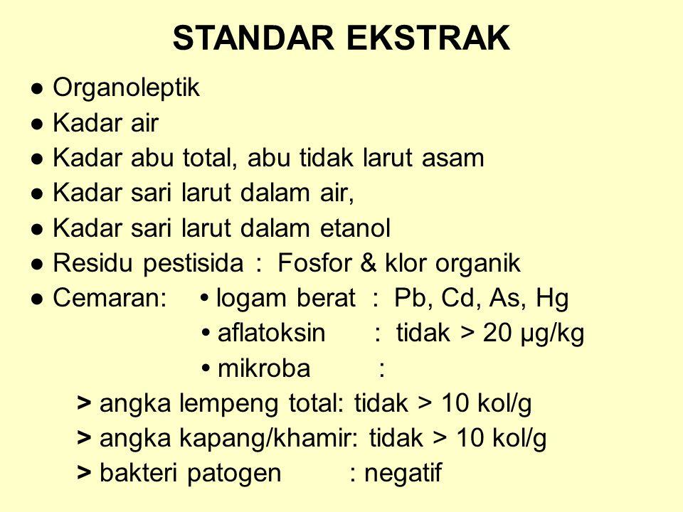 STANDAR EKSTRAK ● Organoleptik ● Kadar air