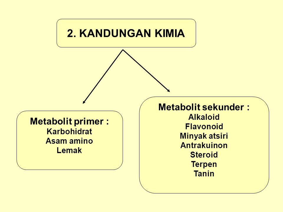 2. KANDUNGAN KIMIA Metabolit sekunder : Metabolit primer : Alkaloid