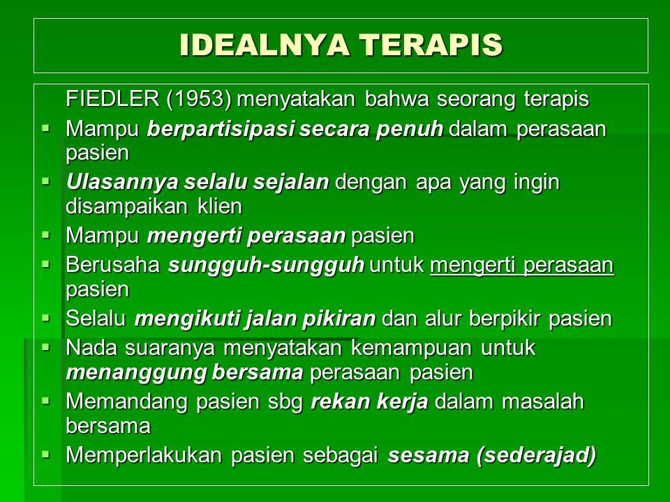 IDEALNYA TERAPIS FIEDLER (1953) menyatakan bahwa seorang terapis